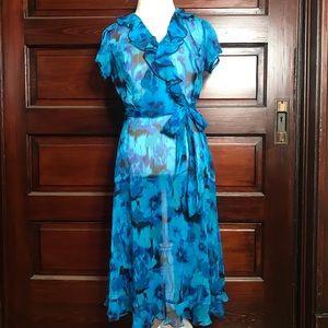 MSK Blue Black Chiffon Midi Dress Ruffle 8